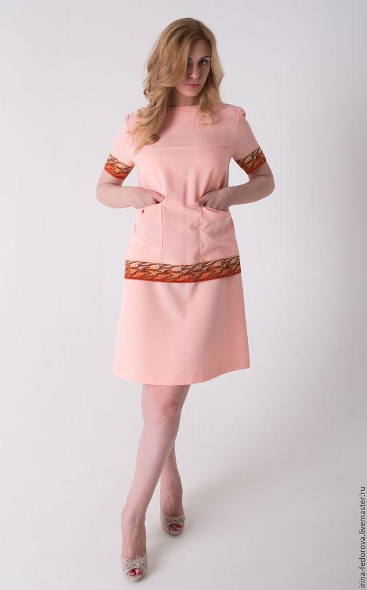 Платья ручной работы. Ярмарка Мастеров - ручная работа. Купить Платье персиковое П-56. Handmade. Кремовый, коралловое платье