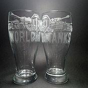 Посуда handmade. Livemaster - original item A glass of World of Tanks. Handmade.