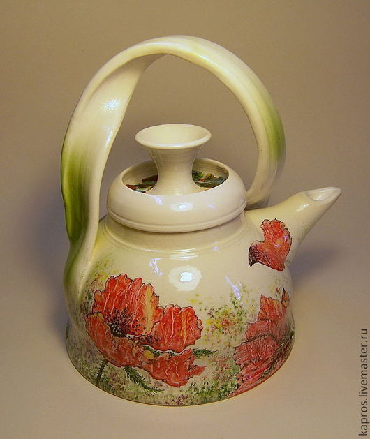 """Чайники, кофейники ручной работы. Ярмарка Мастеров - ручная работа. Купить Чайник """"Ирисы и маки"""". Handmade. Белый"""