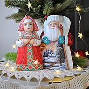 Сувениры и подарки handmade. Livemaster - original item Santa Claus and snow maiden(17cm). Handmade.