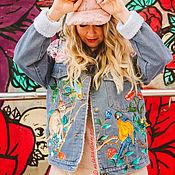 Одежда handmade. Livemaster - original item Denim jacket with Ala Gucci print. painted clothing. Handmade.