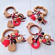 Куклы и игрушки ручной работы. Ярмарка Мастеров - ручная работа Буковые грызунки-погремушки для самых крошек (в ассортименте). Handmade.