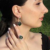 Украшения handmade. Livemaster - original item Madina earrings and ring with jades made of 925 sterling silver. Handmade.