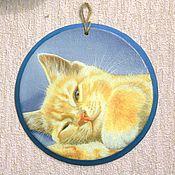"""Картины и панно ручной работы. Ярмарка Мастеров - ручная работа Гипсовое панно """"Рыжий кот"""". Handmade."""