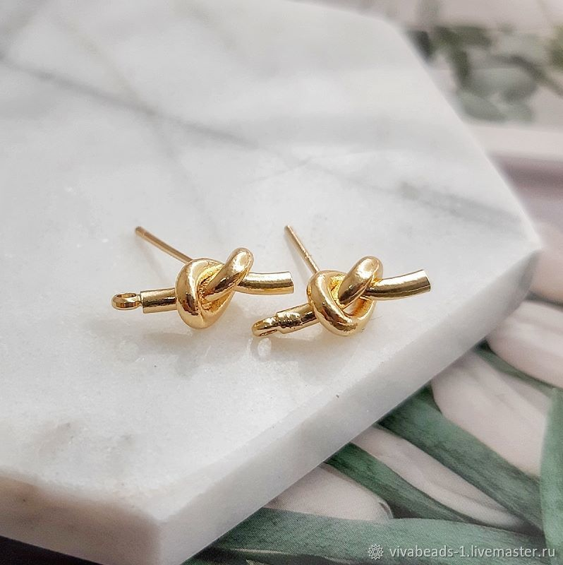 Earrings studs set Nodes 15h6 mm gold plated (4548), Schwenzy, Voronezh,  Фото №1