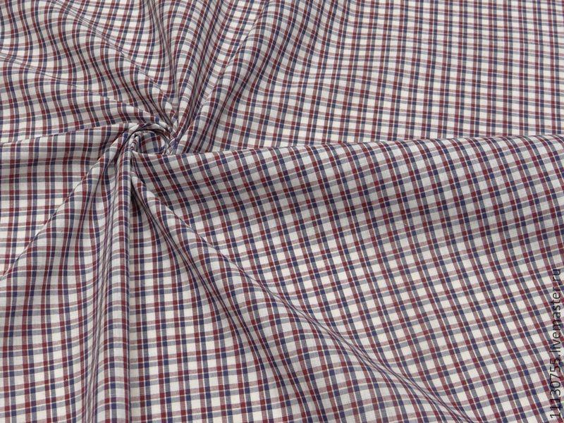 Ткань натуральная хлопок рубашечный красный, Ткани, Москва,  Фото №1