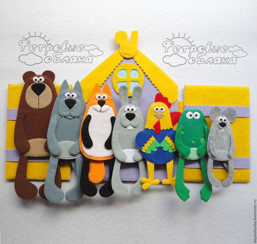 """Развивающие игрушки ручной работы. Ярмарка Мастеров - ручная работа. Купить Пальчиковый театр """"ТЕРЕМОК"""". Handmade. Фетр, пальчиковые куклы"""