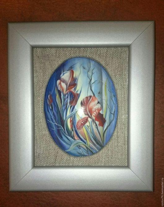 """Картины цветов ручной работы. Ярмарка Мастеров - ручная работа. Купить Настенное панн """" Ирисы"""". Handmade. Комбинированный, панно"""