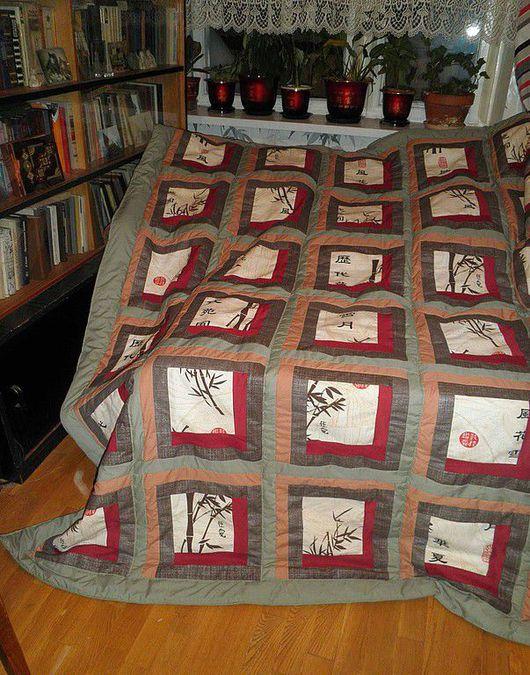 Текстиль, ковры ручной работы. Ярмарка Мастеров - ручная работа. Купить Одеяло покрывало Японский квадрат. Handmade. Лоскутное одеяло