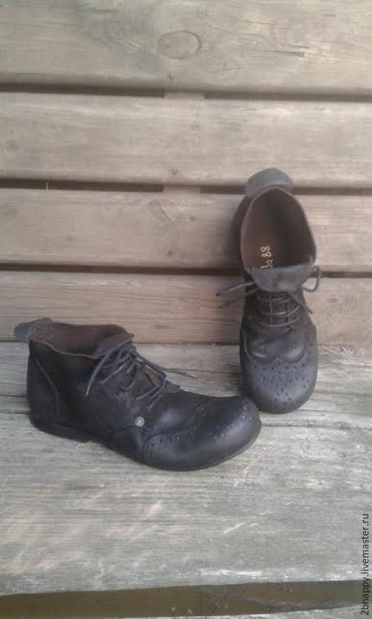 Обувь ручной работы. Ярмарка Мастеров - ручная работа. Купить Ботинки коричневые ЭСПРЕССО. Handmade. Коричневый, осень 2016