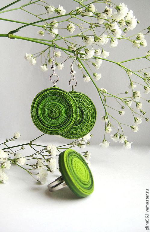 Комплекты украшений ручной работы. Ярмарка Мастеров - ручная работа. Купить Свежесть ...... Handmade. Зеленый, круглое кольцо, зеленое украшение