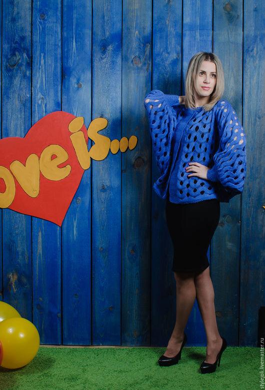 Кофты и свитера ручной работы. Ярмарка Мастеров - ручная работа. Купить Love is...кофточка-кимоно, свободный размер,вязаная ажурная разлетайка. Handmade.