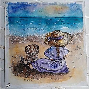 Дизайн и реклама ручной работы. Ярмарка Мастеров - ручная работа Акварельная иллюстрация девочка с собакой на пляже. Handmade.
