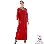 Одежда ручной работы. Ярмарка Мастеров - ручная работа Платье Свободное Кимоно из ярко-красного бархата стрейч. Handmade.