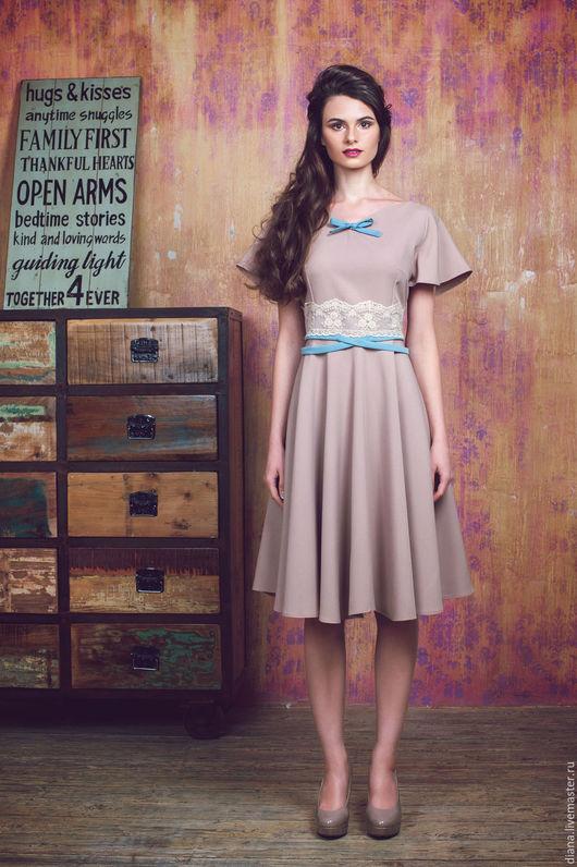 Платья ручной работы. Ярмарка Мастеров - ручная работа. Купить Бежевое платье с пышной юбкой №5 из из сериии IQ-dress. Handmade.