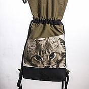Сумки и аксессуары ручной работы. Ярмарка Мастеров - ручная работа рюкзак в стиле вещмешок с принтом КОТ. Handmade.