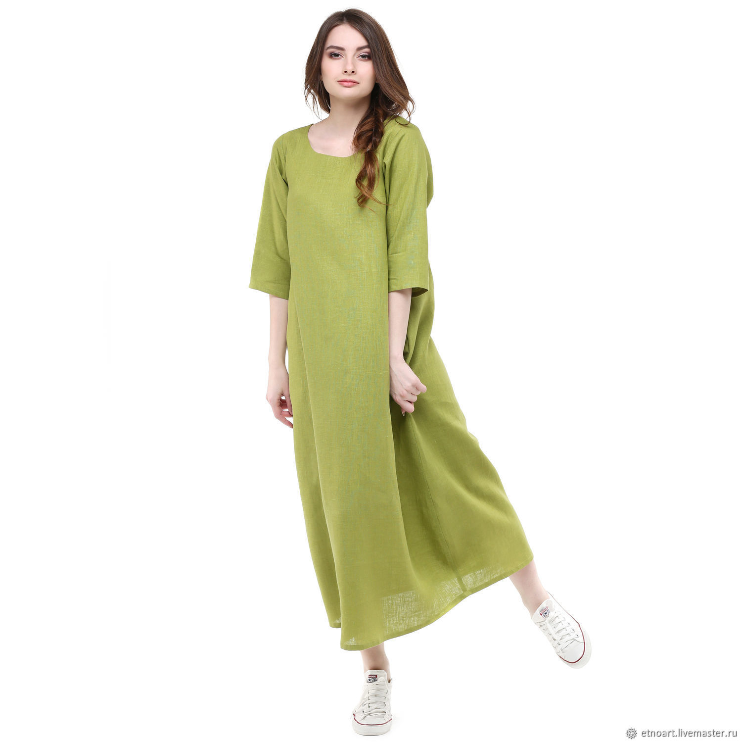 Linen dress in the shape of a trapezoid olive color, Dresses, Tomsk,  Фото №1