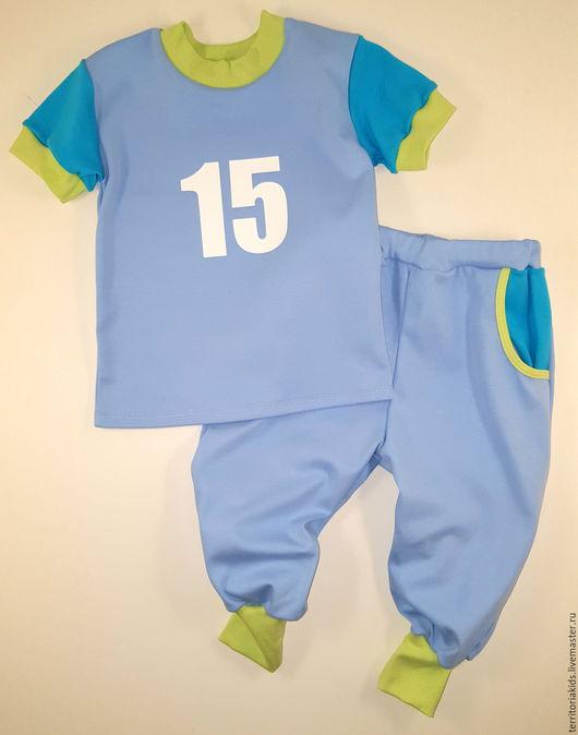 """Одежда для мальчиков, ручной работы. Ярмарка Мастеров - ручная работа. Купить Костюм """"Спорт"""", голубой. Handmade. Голубой, футболка"""