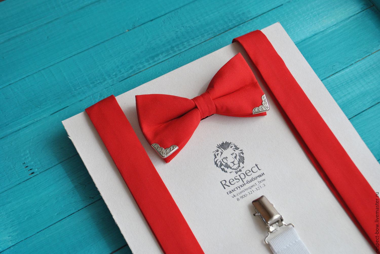 Красная галстук бабочка с металл. вставками + красные подтяжки, Ремни, Москва,  Фото №1