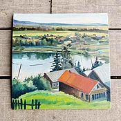 """Картины ручной работы. Ярмарка Мастеров - ручная работа Картина """"Пейзаж с оранжевой крышей"""". Handmade."""