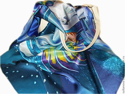 """Шали, палантины ручной работы. Ярмарка Мастеров - ручная работа. Купить Батик платок-панно """"Морские мечты"""". Handmade."""