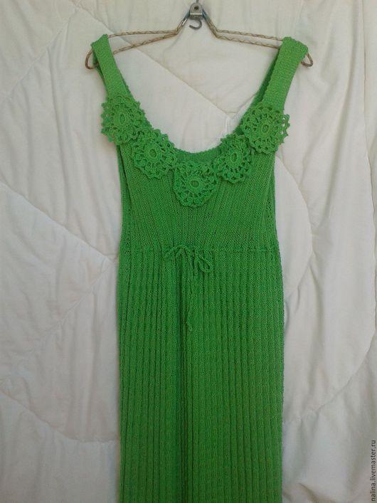 Платья ручной работы. Ярмарка Мастеров - ручная работа. Купить Вязаный зеленый сарафан из хлопка. Handmade. Ярко-зелёный