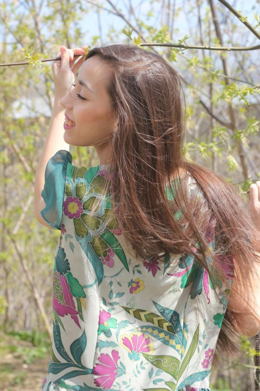 Платья ручной работы. Ярмарка Мастеров - ручная работа. Купить Шелковое платье батик  Весна. Handmade. Комбинированный, батик купить
