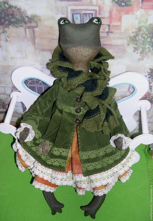 Коллекционные куклы ручной работы. Ярмарка Мастеров - ручная работа. Купить Текстильная лягушка Софочка. Handmade. Зеленый, многослойность