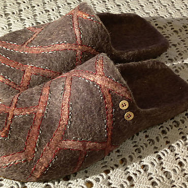Footwear handmade. Livemaster - original item Mens felted Slippers Intersections. Handmade.