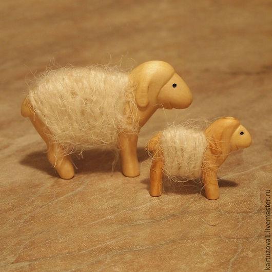 Игрушки животные, ручной работы. Ярмарка Мастеров - ручная работа. Купить Овечки деревянно-шерстяные. Handmade. Комбинированный, дерево