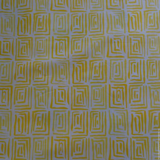 Шитье ручной работы. Ярмарка Мастеров - ручная работа. Купить Ткань  хлопок  для пэчворка  с желтым узором. Корея. Handmade. Желтый