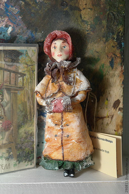 Коллекционные куклы ручной работы. Ярмарка Мастеров - ручная работа. Купить Елочная игрушка из ваты. Софи.. Handmade. Коричневый