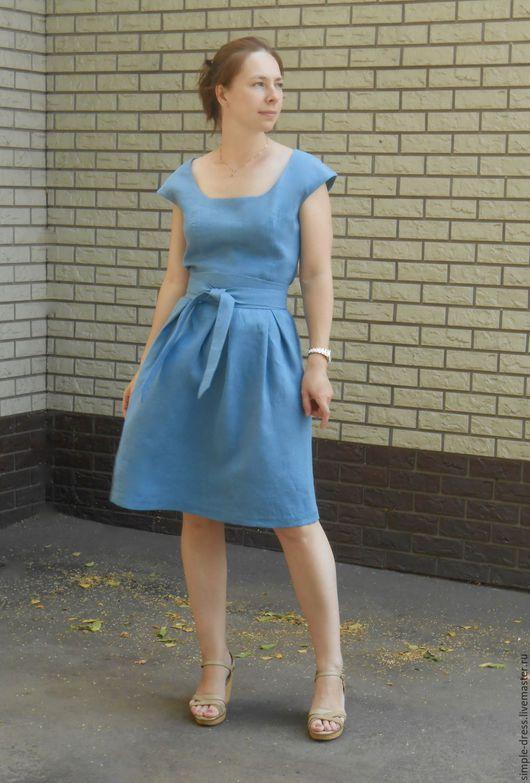 Голубое платье из льна, голубое платье с поясом Оби, льняное голубое платье. Платье миди. Летнее льняное платье.