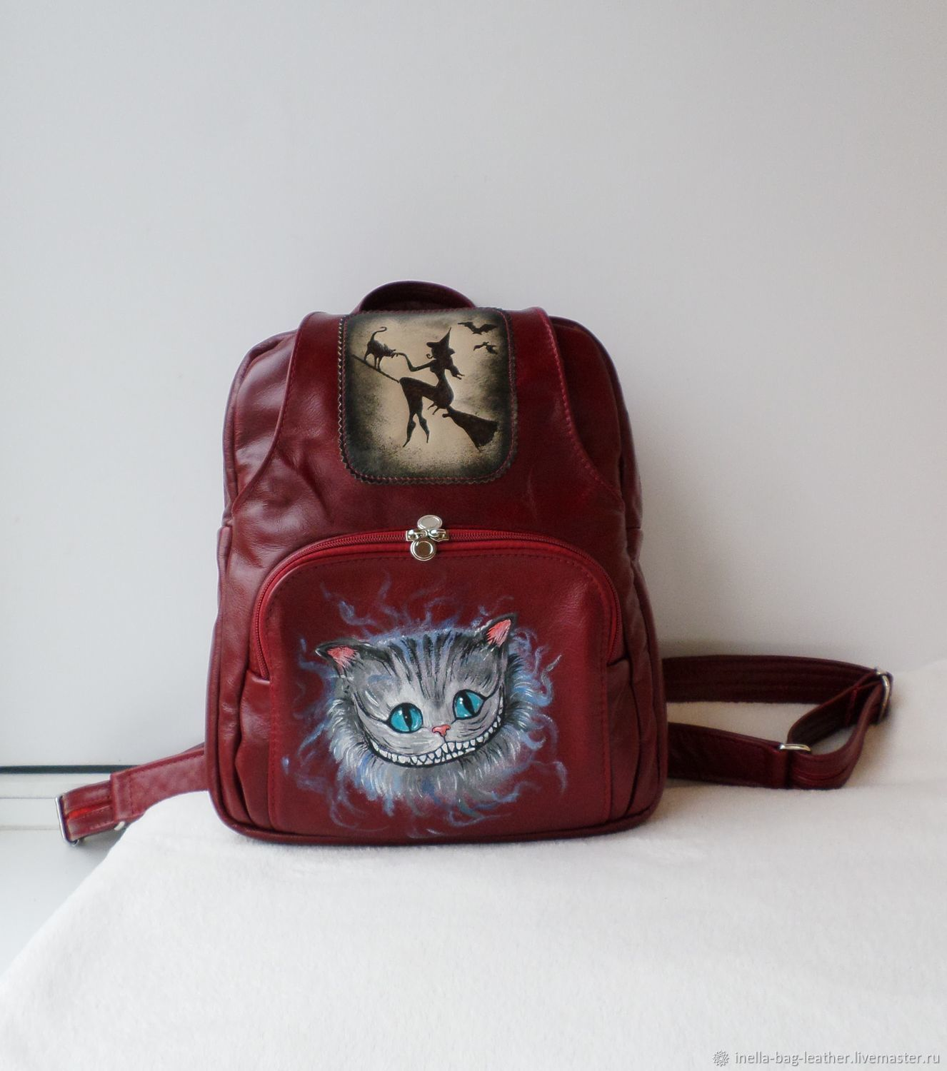 Leather backpack with custom painting and engraving for Catherine, Backpacks, Noginsk,  Фото №1