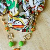 Аксессуары ручной работы. Ярмарка Мастеров - ручная работа Хлопковый шарф с бусами. Handmade.