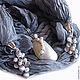 """Шарфы и шарфики ручной работы. Ярмарка Мастеров - ручная работа. Купить """"Музыка дождя"""" шарф колье натуральный шёлк с кулоном. Handmade."""
