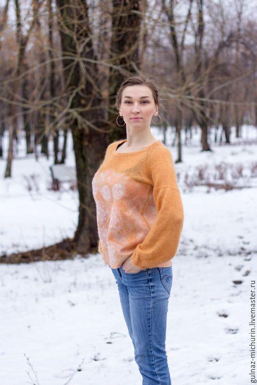 """Кофты и свитера ручной работы. Ярмарка Мастеров - ручная работа. Купить Пуловер """"Сны об одуванчиках"""". Handmade. Лимонный"""