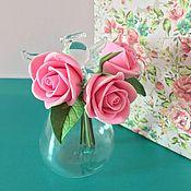 Цветы и флористика ручной работы. Ярмарка Мастеров - ручная работа Ангелочек с букетиком роз. Handmade.