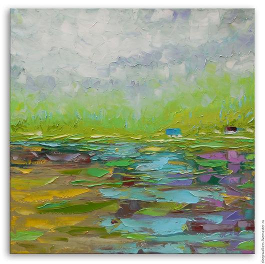 """Пейзаж ручной работы. Ярмарка Мастеров - ручная работа. Купить """"Бирюзовый ручей"""" 65х65 см картина маслом мастихином пейзаж. Handmade."""