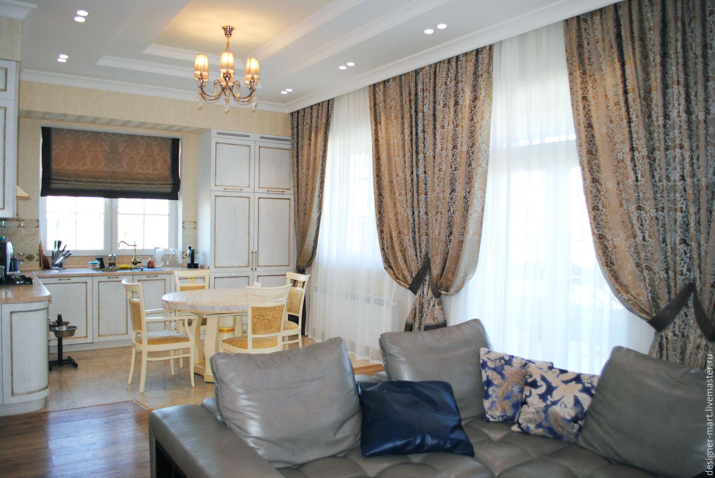 Шторы в дом для гостиной с коричневым кантом по нижнему краю, Шторы, Москва, Фото №1