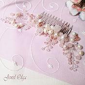Свадебный салон handmade. Livemaster - original item The hair comb with rose quartz and pearls