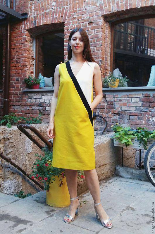 Платья ручной работы. Ярмарка Мастеров - ручная работа. Купить Платье летнее прямого силуэта. Handmade. Желтый, платье до колена