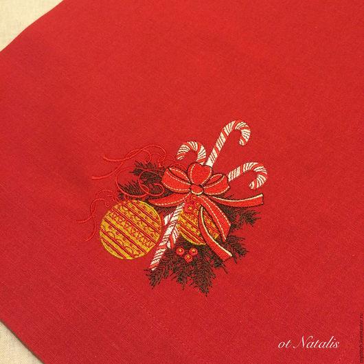 """Текстиль, ковры ручной работы. Ярмарка Мастеров - ручная работа. Купить Дорожка из льна """"Новогодние шары"""". Handmade. Ярко-красный"""