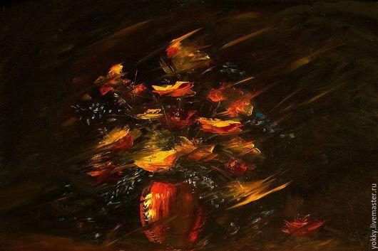 Картины цветов ручной работы. Ярмарка Мастеров - ручная работа. Купить Букет на Тёмном. Handmade. Желтый, букет, картина