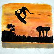 "Одежда handmade. Livemaster - original item T-shirt ""The wakeboard on sunset"", hand-painted. Handmade."