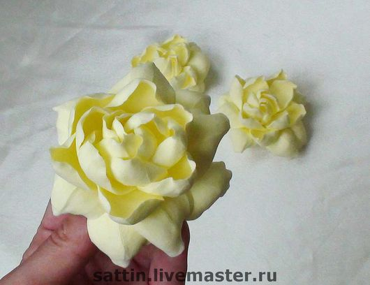 Цветы ручной работы. Ярмарка Мастеров - ручная работа. Купить Желто-ванильные гардении. Handmade. Гардения, резинка с цветком