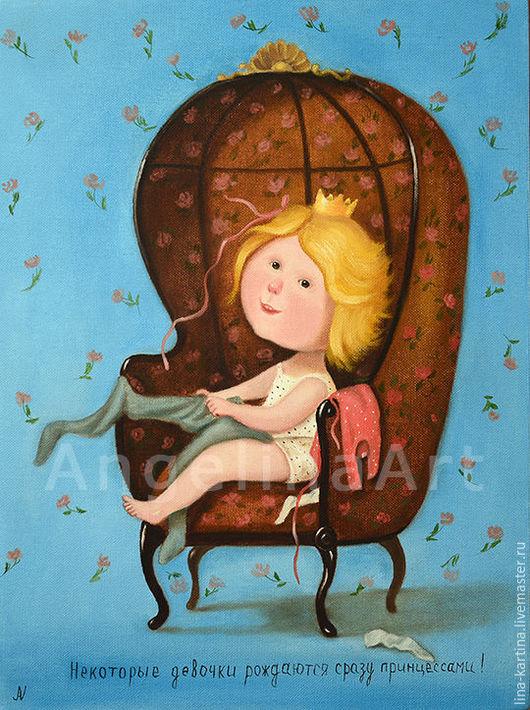Люди, ручной работы. Ярмарка Мастеров - ручная работа. Купить Принцесса в подарок для маленькой леди. Картина маслом по Гапчинской Е. Handmade.