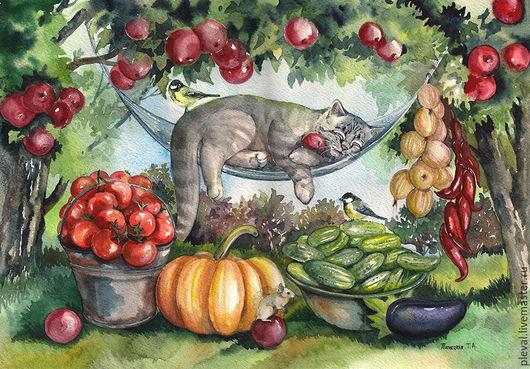 Натюрморт ручной работы. Ярмарка Мастеров - ручная работа. Купить Картина акварелью с котом Волшебный сон дачника. Handmade. Кот