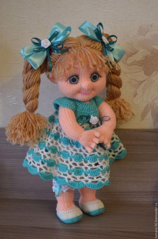 """Человечки ручной работы. Ярмарка Мастеров - ручная работа. Купить Кукла вязаная """"Рита"""". Handmade. Бирюзовый, кукла с красивыми глазами"""