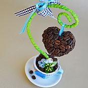Цветы и флористика ручной работы. Ярмарка Мастеров - ручная работа мини-деревце сердечко на подвесе в голубой чашке. Handmade.